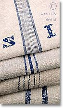 French country fabric: antique French grain sack fabric. Possible material for valances