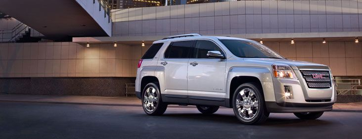 2015 GMC Terrain compact SUV in Quicksilver Metallic shown with available equipment