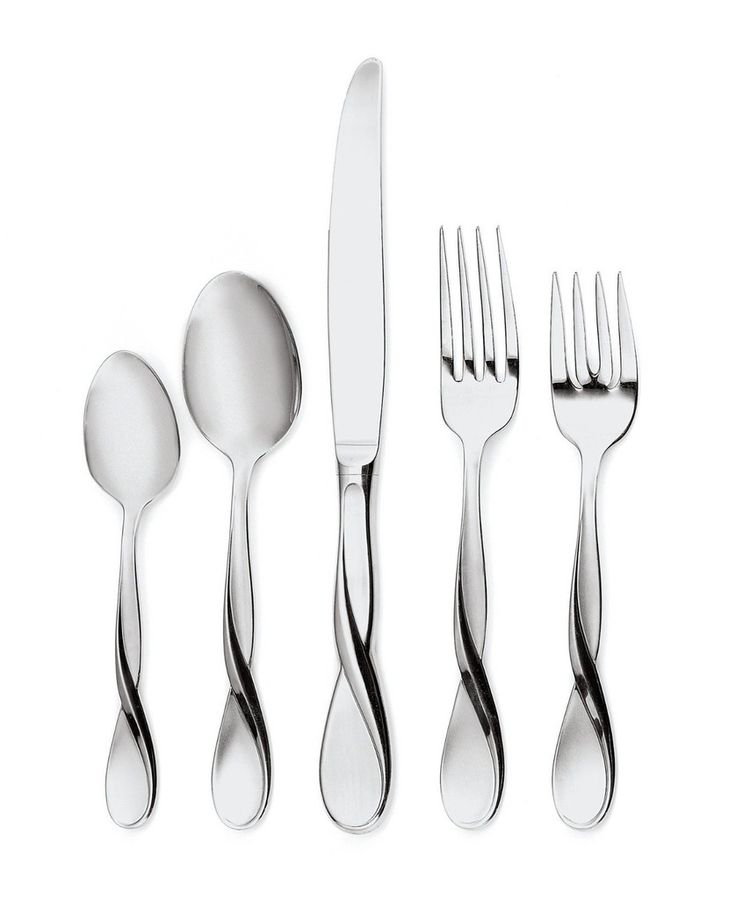 With satin finish and intricate twisted-design handle Oneida Satin Aquarius 18/10 Stainless Steel 5 Piece Flatware Set has unique styling that goes well with both modern and classic table setting. Graceful and free flowing, this 18/10 Stainless Steel set will make great addition to your fine dining table.  Oneida Satin Aquarius Flatware Set includes Tea Spoon, Soup Spoon, Dinner Knife, Dinner Fork and Salad Fork.