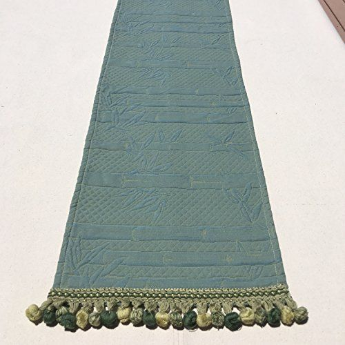 Table Runner#1489, Gorgeous Quilted Asian Upholstery Fabric Table Runner With Embroidered Ball Trim