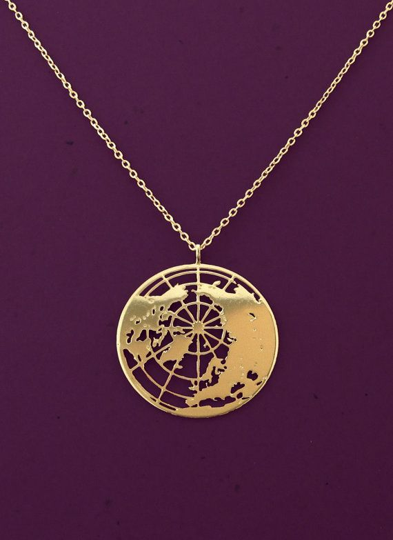 gold globe necklace- the world pendant- Planet Earth- 24 karat gold plated necklace on Etsy, $55.00