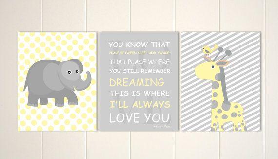 Baby boy nursery, nurser art, yellow grey nursery, giraffe, elephant, nursery quotes, Peter Pan, set of 3, choose your colors
