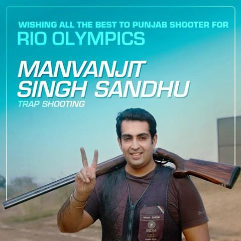 Manvanjit Singh Sandhu, first Indian shotgun shooter to be crowned World Champion, a Rajiv Gandhi Khel Ratna and Arjuna Awardee who has represented our country proud in last 3 Olympics is all set to make us proud at Rio. Wishing him all the best for his journey. #congratulations   #indian   #shotguns   #shooter   #worldchampion