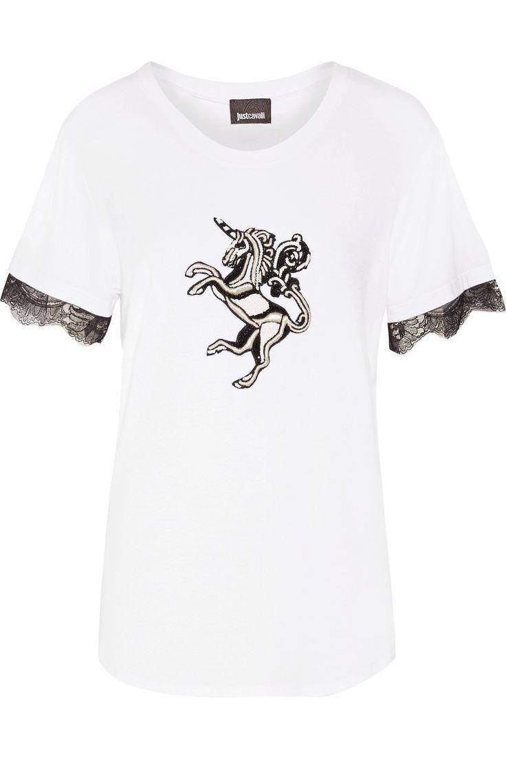 JUST CAVALLI Embellished Stretch-Jersey T-Shirt. #justcavalli #cloth #t-shirt