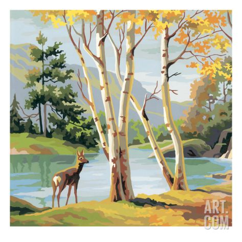 Deer by Lake Print by Pop Ink - CSA Images at Art.com