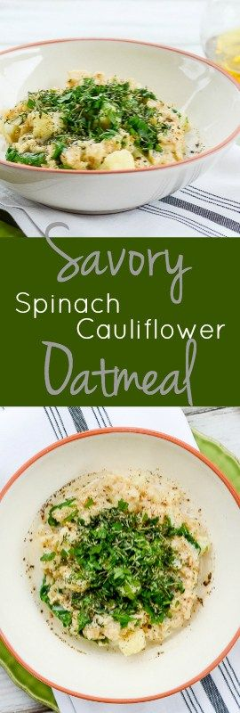 Savory Spinach Cauliflower Oatmeal might be better than sweet oatmeal. Can we agree? Take 15 minutes to whip up this recipe and find out for yourself!   theeverykitchen.com