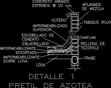 Detalle de pretil - remate sobre azotea (dwgDibujo de ...