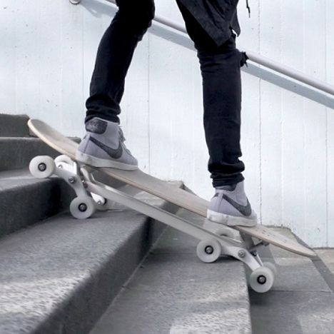 Stair-Rover is a longboard unlike any other. It's designed from the ground up to surf the entire city. The unique eight-wheeled mechanism makes the board equally at home cruising smooth pavements or gliding down steps. From the curb outside your house to a double flight of stairs, the Stair-Rover scuttles over obstacles with ease.