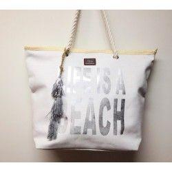 Borsa spiaggia mare in tessuto con scritta LIFE IS A BEACH argentata, manico in corda e nappina argentata