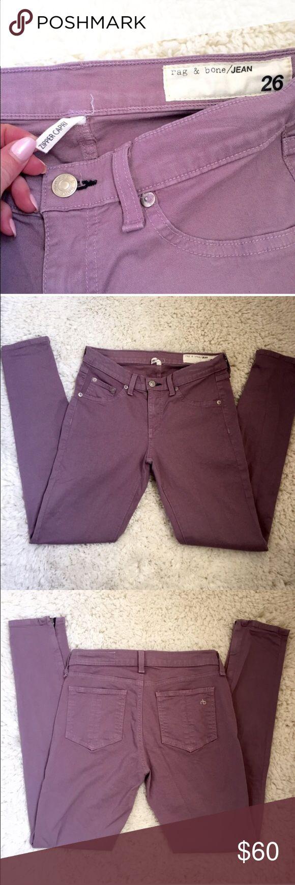 Rag & bone lavender purple jeans 26 Form fitting Capri zipper ankle jeans in lavender rag & bone Jeans Skinny