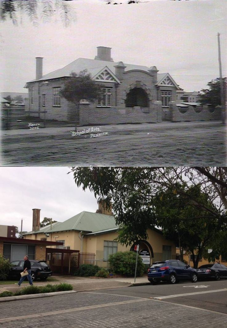 Penrith School of Arts, Castlereagh Street, Penrith in circa 1920 and in 2015. [circa 1920 - State Library of NSW>2015 - Phil Harvey. By Phil Harvey]