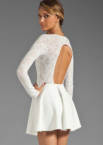 White Long Sleeve Back Cut Out Dress