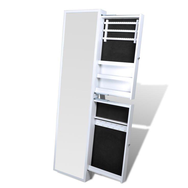 armoire bijoux blanche avec miroir et 2 tiroirs - Miroir Range Bijoux
