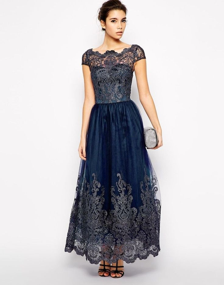 Chi Chi London amara długa haftowana sukienka