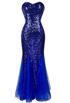 Full length blue sequin mermaid formal prom dresses under $50 dollars 2016