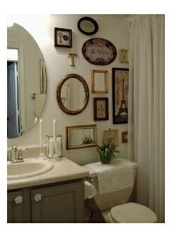 Mirror and Picture Collage for Bathroom Wall