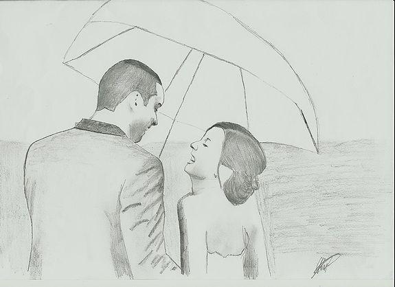 Sous+l'ombrelle+dessin+au+crayon+graphite