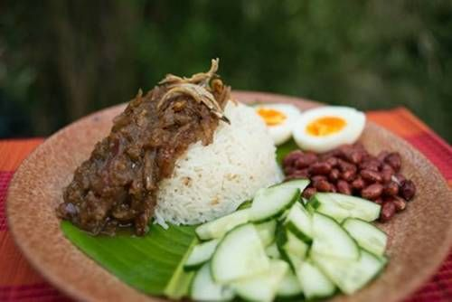 Nasi Lemak - Malaysia's national dish with its fresh, creamy, spicy, nutty condiments offers a real mingling of flavours