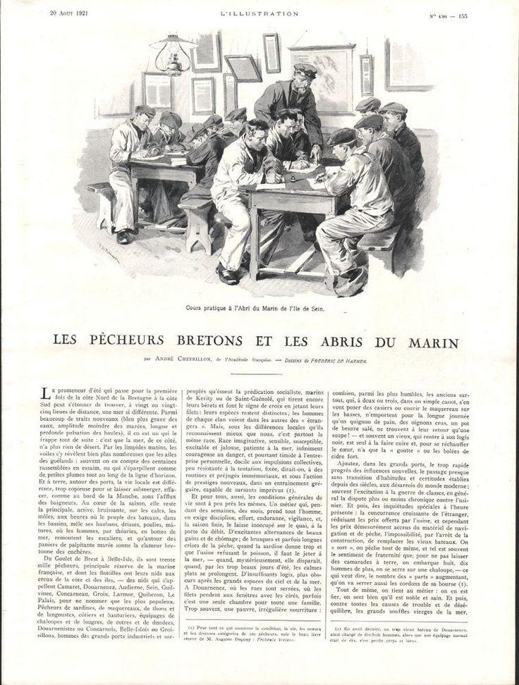 Les Pêcheurs Bretons et les Abris du Marin - Coupure de Presse 1921 - Mer Métier