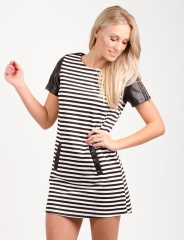 Gilmore dress from www.belleroad.co.nz Striped tunic day dress with zipped leather sleeves and pockets