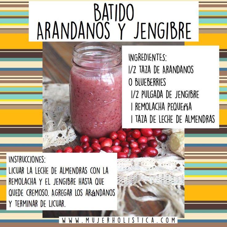 Día 3   Ingredientes:  - 1/2 taza de cranberries o blueberries (arándanos)  - 1/4 pulgada de jengibre (si te gusta el sabor del jengibre, aumenta a 1/2 pulgada)  - 1 Betabel (remolacha) pequeña (o 1/4 de una grande)  - 1 taza de leche de almendras, arroz o avena. Si no tienes, utiliza agua (aunque no sabe tan rico).  opcional: endulza con stevia  Instrucciones:  Licuar la leche de almendras con la remolacha y el jengibre hasta que quede cremoso. Agregar los arándanos y terminar de licuar.
