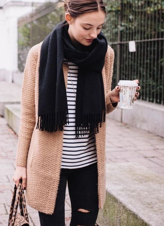 thick cardigan, neutral colors, stripes, scarf