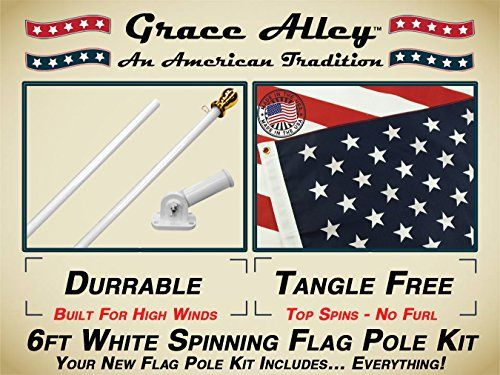 Flag Pole Kit: Outdoor Flag Pole Kit Includes Us Flag Made in Usa, Flagpole and Flagpole Bracket. Free Shipping for Amazon Prime Members. Flag Pole for House or Commercial. White Aluminum Flag Pole Kit By Grace Alley. Wind Resistant / Rust Free.   Flag Pole Kit: Outdoor Flag Pole Kit Includes Us Flag Made in Usa, Flagpole and Flagpole Bracket. Free Shipping for Amazon Prime Members. Flag Pole for House or Commercial. White Aluminum Flag Pole Kit By Grace Alley. Wind Resistant / Rust ..