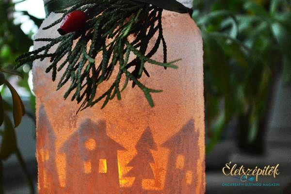 Hangulatos karácsonyi dekoráció: sziluett mécsestartó befőttes üvegből