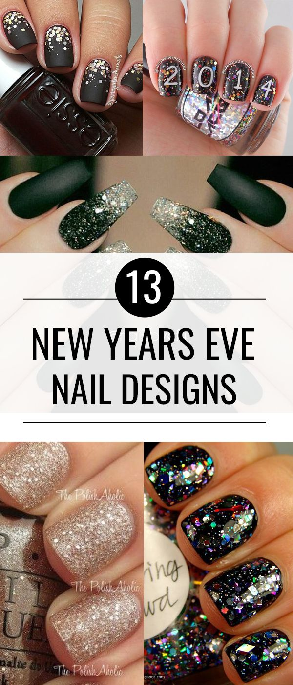13 Gorgeous New Years Nails. Beautiful gold, glitter and confetti nail designs for New Years!