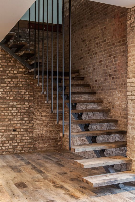 Industrial Staircase Bricks Wall Design Ideas: