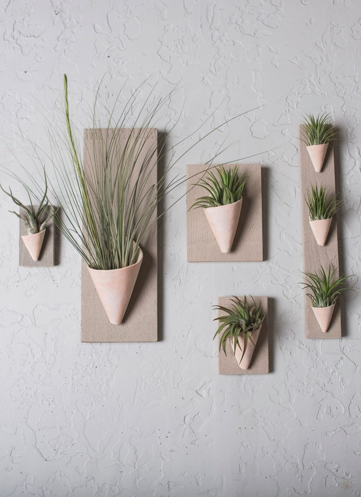 Wall Planter Handmade In Ceramic With A Wood Backing Air Plant