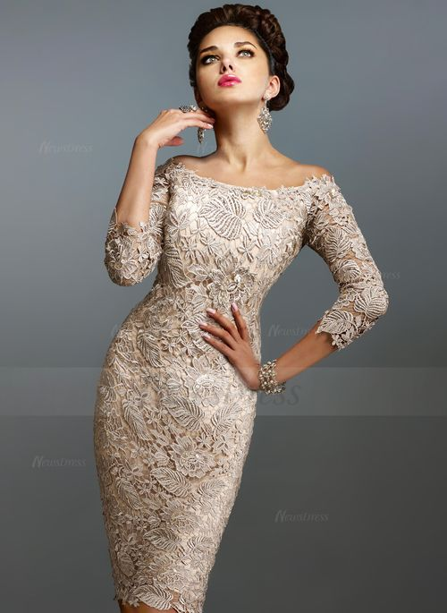 Sheath/Column Off-the-Shoulder Knee-Length Lace Zipper Up Sleeves 3/4 Sleeves No Champagne Spring Summer Fall General Mother of the Bride Dress