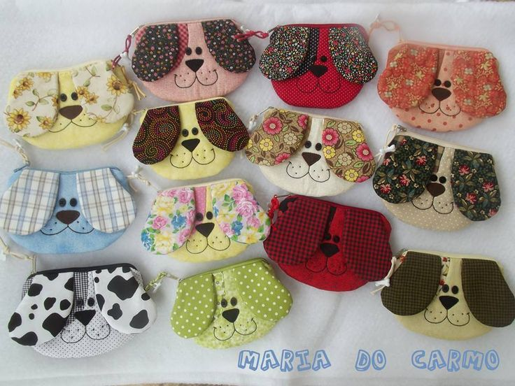 Puppy pouch - dog zipper bag inspiration - check out the guy bottom left, with the black gingham eye circle, lol!