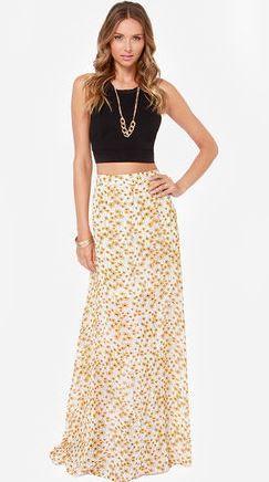 Daisy If You Do Ivory Floral Print Maxi Skirt - Lulu's