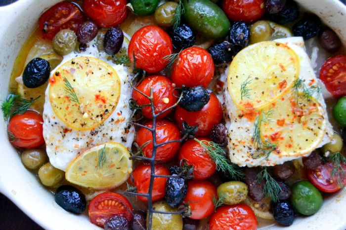 I'd happily eat this way every night. It's quick, easy, and healthy. Everything gets layered into one pan or dish, and cooks, on the grill or in a hot oven, in about 15 minutes. Between the tomatoes, the lemons, the olive oil and the wine, a luscious sauce magically develops as it cooks. Make sure to serve this with bread, or couscous (or something!) to sop up every last drop.This one pot Greek inspired halibut is pretty much the perfect example of why Mediterranean cooking is so…