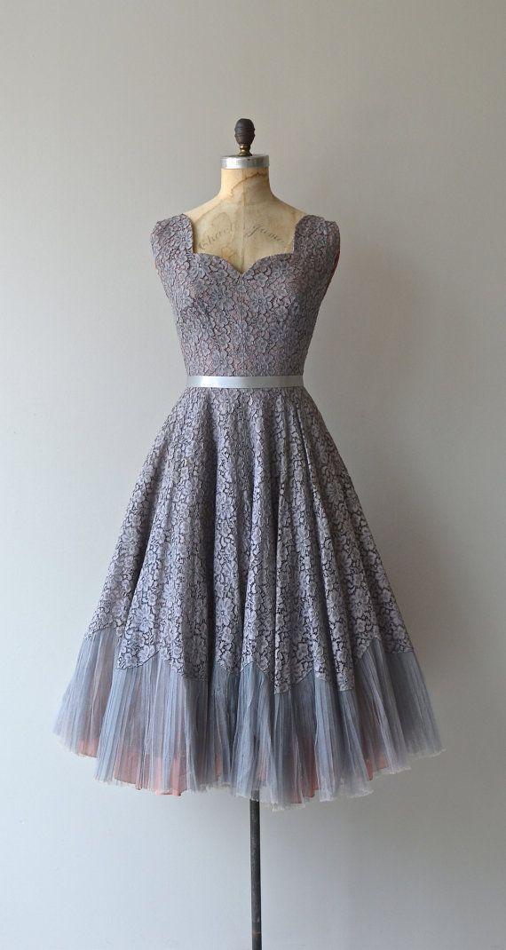 vintage Mercure 1950s gray lace dress
