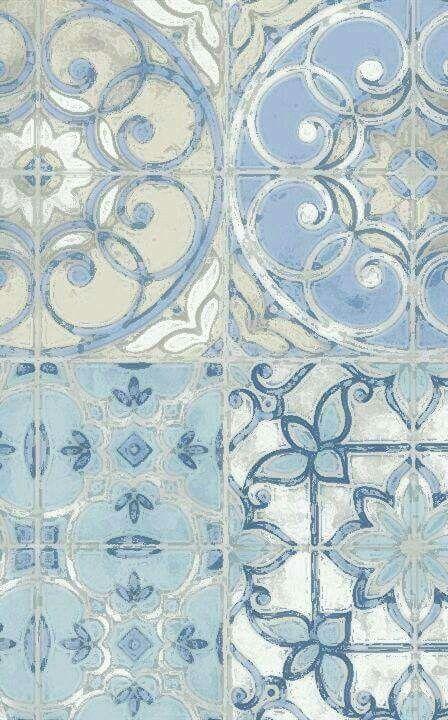 Pastel blue tiles.