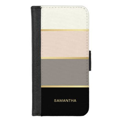Elegant Wide Stripes with Your Name iPhone 8/7 Wallet Case
