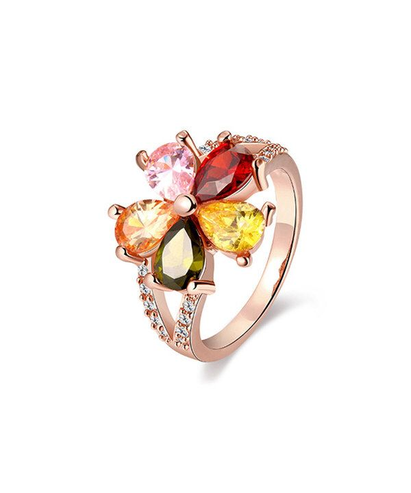 Look at this Pink & Green Cubic Zirconia Floral Ring on #zulily today!