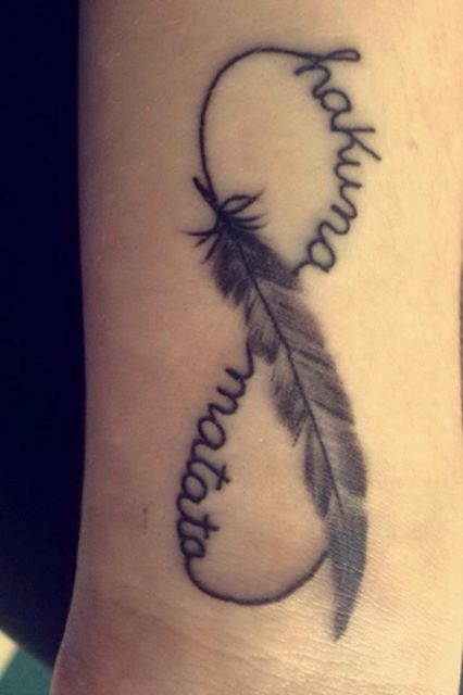 "New wrist tattoo, infinity sign with the words ""hakuna matata"" (no worries) running through it and a feather in the middle :)"