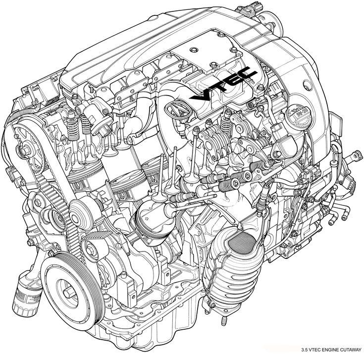 2008 Acura RL 3.5 VTEC Engine Cutaway