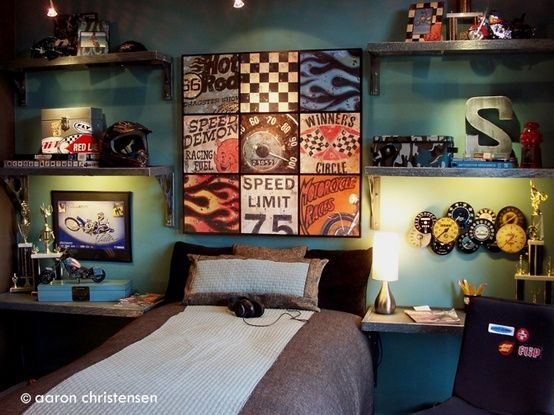 Embellishments Studio bedrooms and rooms for teens and tweens. - yummypins.org   THEY BOTH LIKE FAST CARS! A common interest?? :D I really like the idea of signage etc...use more modern adult pieces.