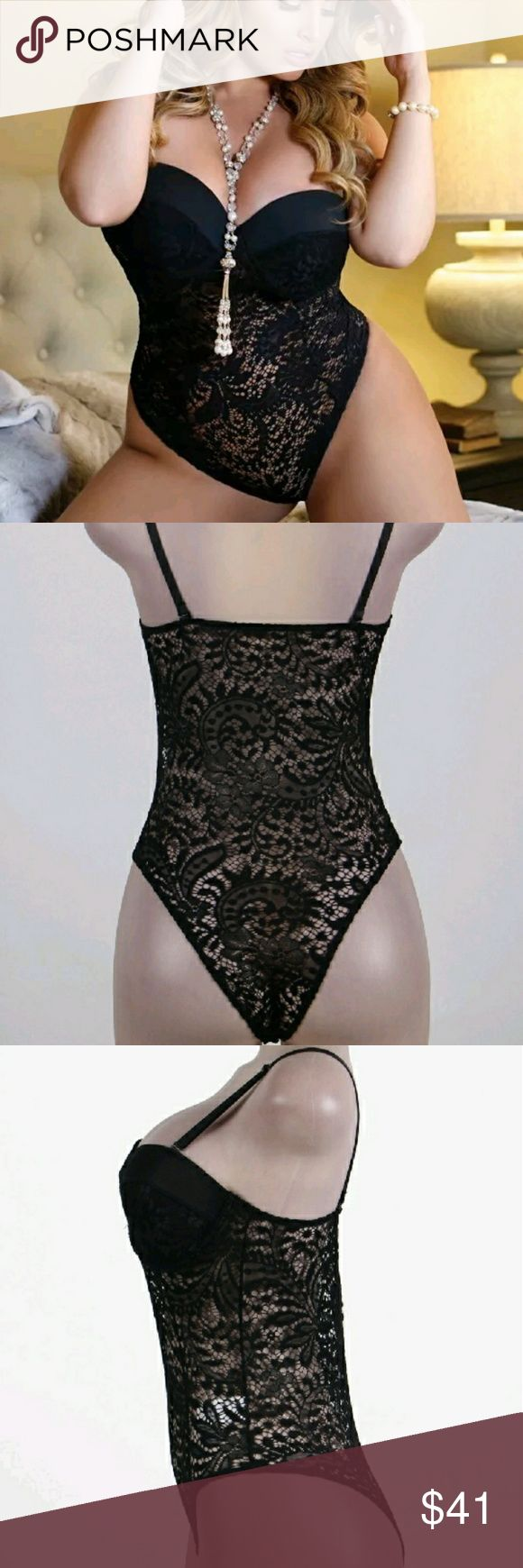 Plus size lingerie 5 x Black lace Bridal Teddy sexy wedding lingerie push-up cup . Intimates & Sleepwear
