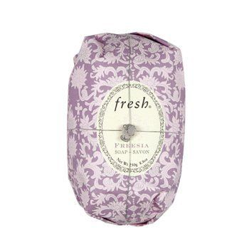 Fresh Freesia Soap 8.8 oz by Fresh. $15.00. Freesia Oval Soap is a luxurious, triple-milled cleansing bar enriched with nourishing shea butter and infused with a rich white floral scent. Because the soap is triple-milled, it doesn't contain any air pockets, which makes the bar last longer and preserves the scent from start to finish. It is hand wrapped in ornate paper and topped with a semi-precious stone.. What it is:A non-drying, triple milled soap infused wit...