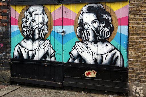 Apocalyptic sacred glamor stencils, Brick Lane. Pic: Cory Doctorow (CC BY-SA 2.0)