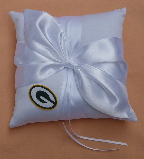 Wedding Ring Bearer Pillow, Flower Girl Basket, Bridal Garter Set - Green Bay Packers Football Sports Themed