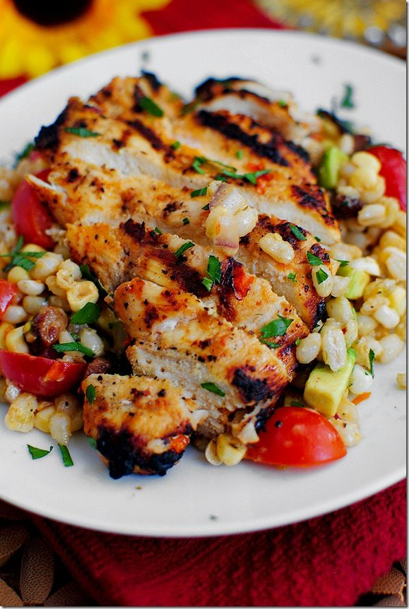 Grilled Chicken with Corn Salad ~ made this one and it was a HIT! I only used 1/2 an avocado  didn't put red onion in Corn Salad. Had more than enough flavor.