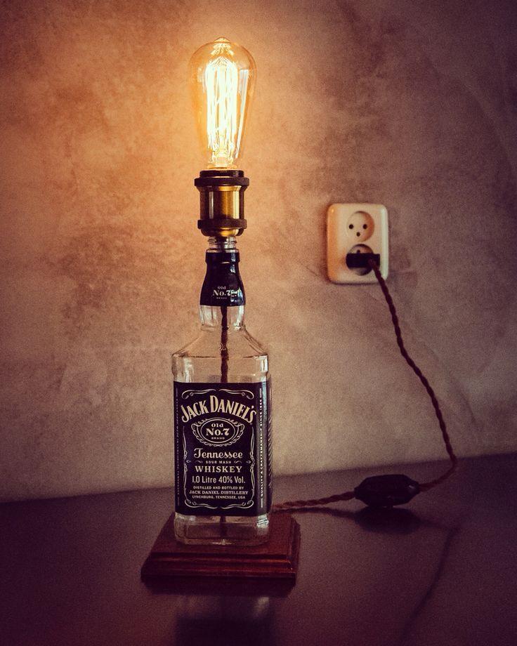Jack Daniels DIY Bottle Lamp With Some Bulb Swag (Liquor Bottle Lamp)