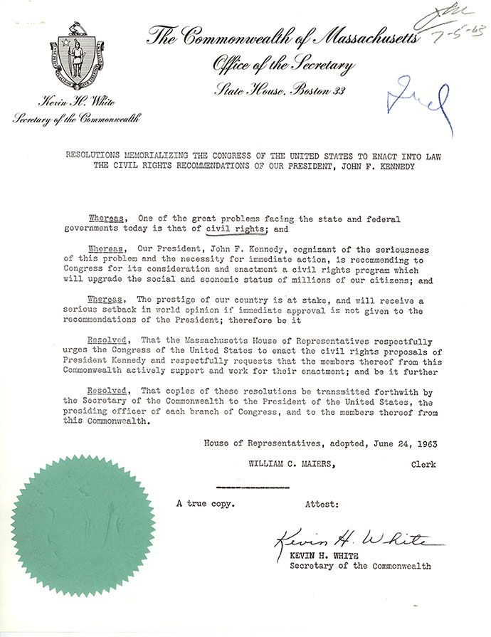 Resolutions of the Massachusetts House of Representatives Endorsing the March on Washington, August 26, 1963