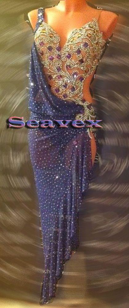 Women Ballroom Latin Rhythm Rumba Salsa Dance Dress US 8 UK 10 Same Color #Sea